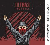 soccer supporter of ultras with ... | Shutterstock .eps vector #1811186584