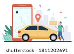 man with map on smartphone... | Shutterstock .eps vector #1811202691