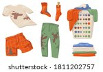 dirty clothes set. t shirts and ... | Shutterstock .eps vector #1811202757