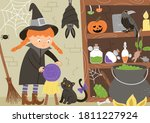 vector witch interior... | Shutterstock .eps vector #1811227924