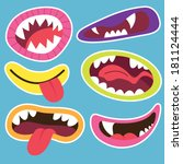 cute monsters mouths | Shutterstock .eps vector #181124444