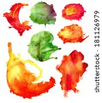 set of watercolor abstract hand ... | Shutterstock . vector #181126979