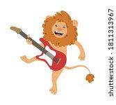 positive brown lion standing...   Shutterstock .eps vector #1811313967