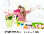 sisters with arms outstretched... | Shutterstock . vector #181134401
