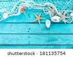 delicate nautical border with... | Shutterstock . vector #181135754