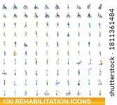 100 rehabilitation icons set.... | Shutterstock .eps vector #1811361484