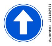 blue round one way arrow sign.... | Shutterstock .eps vector #1811369851