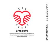 give love sign. hands holding...   Shutterstock .eps vector #1811392444