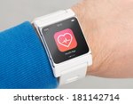 close up white smart watch with ... | Shutterstock . vector #181142714