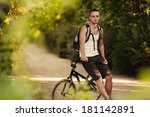 young man sitting on bike | Shutterstock . vector #181142891
