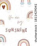 trendy rainbow in boho style in ... | Shutterstock .eps vector #1811429041