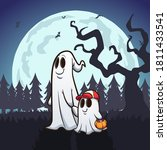 ghost father and son trick or... | Shutterstock .eps vector #1811433541