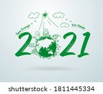 2021 earth eco design. new year ... | Shutterstock .eps vector #1811445334
