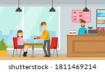 young man and woman eating...   Shutterstock .eps vector #1811469214