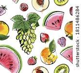 pattern sketch food watercolor...   Shutterstock .eps vector #1811486284