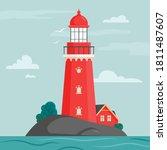 lighthouse on island in flat...   Shutterstock .eps vector #1811487607