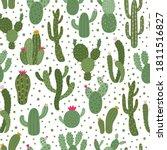 cactus pattern. seamless cactus ... | Shutterstock .eps vector #1811516827