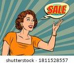 a beautiful pop art woman... | Shutterstock .eps vector #1811528557