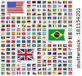 219 flags of world  flat vector ... | Shutterstock .eps vector #181154201