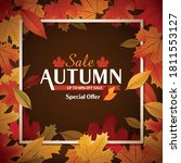 autumn sale graphic with leaves | Shutterstock .eps vector #1811553127