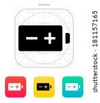 polarity battery icon on white...
