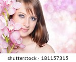 beautiful girl with orchid... | Shutterstock . vector #181157315