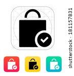 shopping bag check icon.