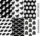 hand drawn horror pattern...   Shutterstock .eps vector #1811673631