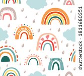doodle rainbow with rain...   Shutterstock .eps vector #1811680351