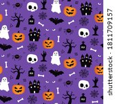 halloween seamless pattern... | Shutterstock .eps vector #1811709157