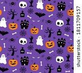halloween seamless pattern... | Shutterstock .eps vector #1811709157