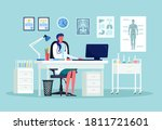 doctor woman sits by table in... | Shutterstock .eps vector #1811721601