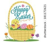 happy easter basket duck eggs... | Shutterstock .eps vector #181172621