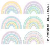 set of watercolor cute rainbows ... | Shutterstock .eps vector #1811755387