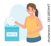 woman putting vote into the... | Shutterstock .eps vector #1811803447