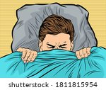 a man in bed with his eyes... | Shutterstock .eps vector #1811815954