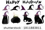 set of cute black cats in witch ... | Shutterstock .eps vector #1811883811