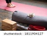 Caucasian Females Legs On Yoga...