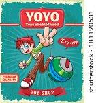 Vintage boy playing yoyo poster design