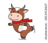 cute red spotted cow or bull in ... | Shutterstock .eps vector #1811913637