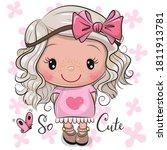 cute cartoon girl in a pink...   Shutterstock .eps vector #1811913781