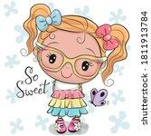 cute cartoon girl in a dress...   Shutterstock .eps vector #1811913784