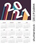 calendar for 2021. weeks start ... | Shutterstock .eps vector #1811916844