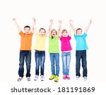 group of smiling kids with... | Shutterstock . vector #181191869