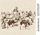 landscape vector ink sketch