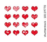 16 red hearts with flowers | Shutterstock . vector #18119770