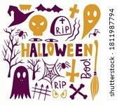 halloween vector doodle set...   Shutterstock .eps vector #1811987794
