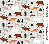 canadian fauna seamless pattern ... | Shutterstock .eps vector #1812020527