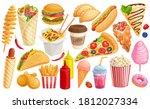 fast food cartoon icon set.... | Shutterstock .eps vector #1812027334