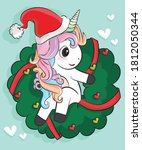 Cute Unicorn Vector Christmas...